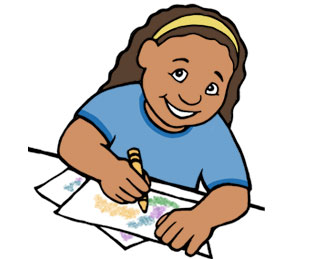 illustration of a girl drawing and coloring