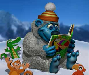 A little snow creature reading his favorite book