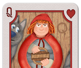 Illustration of a Red Riding Hood Queen playing card